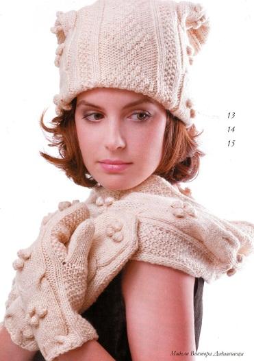 Шапка, варежки и шарф спицами